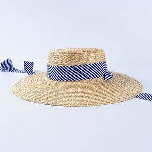 Image 3 - 2019 yeni kadın geniş Brim buğday hasır şapkalar yaz plaj güneş şapka lacivert çizgili şerit kravat şapka şapka meslek Derby kap