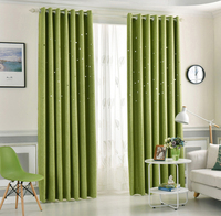 Hollow Star Faux Linen Blackout French window Curtains with metal grommet top