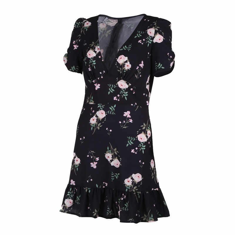 Mini vestido bohemio Floral de verano para mujer, de manga corta, con cuello en V, para fiesta de noche, para playa, estilo veraniego 2018