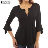 ZANZEA Women Deep V Neck Buttons Pleated Strecth Tops Blouse Shirt Sexy Ruffled Flared 3 4
