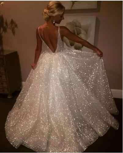 4f4b5882 Beauty-Emily European Sparkly Sequins Wedding Dress 2019 Charming Spaghetti  Strap Backless Formal bridal Gowns