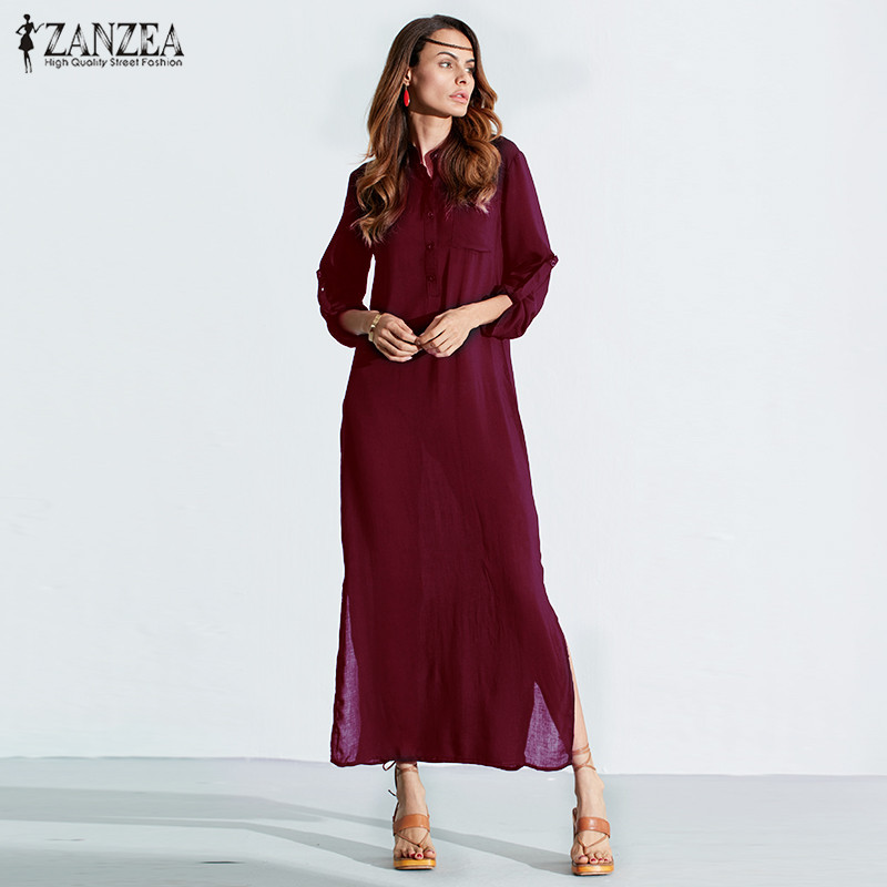 ZANZEA 3 Colors 2018 New Autumn Women Long Dress Maxi Dress Long Sleeve Split Sexy Deep V Neck Casual Vestidos Plus Size