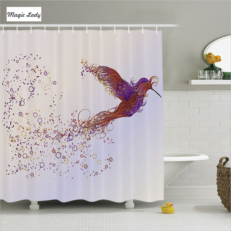 Shower curtain animal wild bird phoenix decor pink purple for Pink and orange bathroom ideas