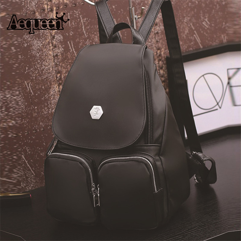AEQUEEN Top PU Leather Backpacks Women Schoolbags For Teenager College Students Shoulder Bag Vintage Style Girl
