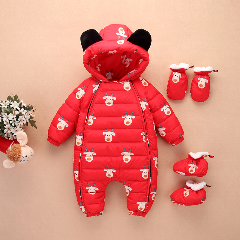 2017 Newborn Clothes Christmas Baby Rompers Duck Down Winter Overalls Thick Warm Jumpsuit Infant Boys Girls Outwear WUA7820002 baby rompers winter thick climbing clothes newborn boys girls warm jumpsuit 2018 high quality ski suit outwear for infant 0 18 m