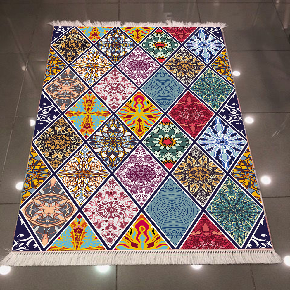 Else Tiles Red Green Blue Yellow Ethnic Floral Authentic 3d Microfiber Anti Slip Back Washable Decorative Kilim Area Rug Carpet
