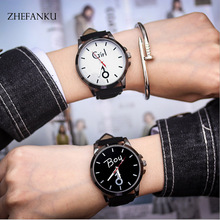 Couple Wristwatches Women Men Leather Strap Watches Girl Boy Big Dial Fashion Quartz Watches Relogios Femininos Lover's Gifts