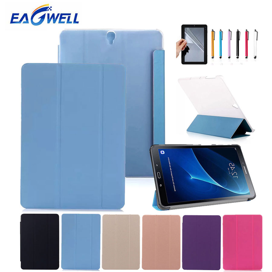 Eagwell Case Cover For Samsung Galaxy Tab S3 9.7 inch SM T820 T825 Leather Flip Case Stand Transparent PC Back Cover Skin+Gifts