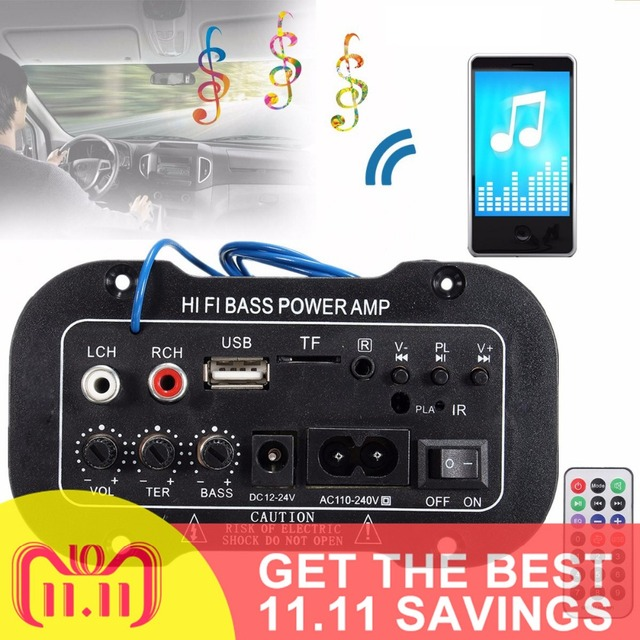 Best Price 220V Car Bluetooth Car Stereo Radio 2.1 Hi-Fi Bass Power Car Amplifier Car Audio Digital Amplifier USB TF Remote Internet Radios