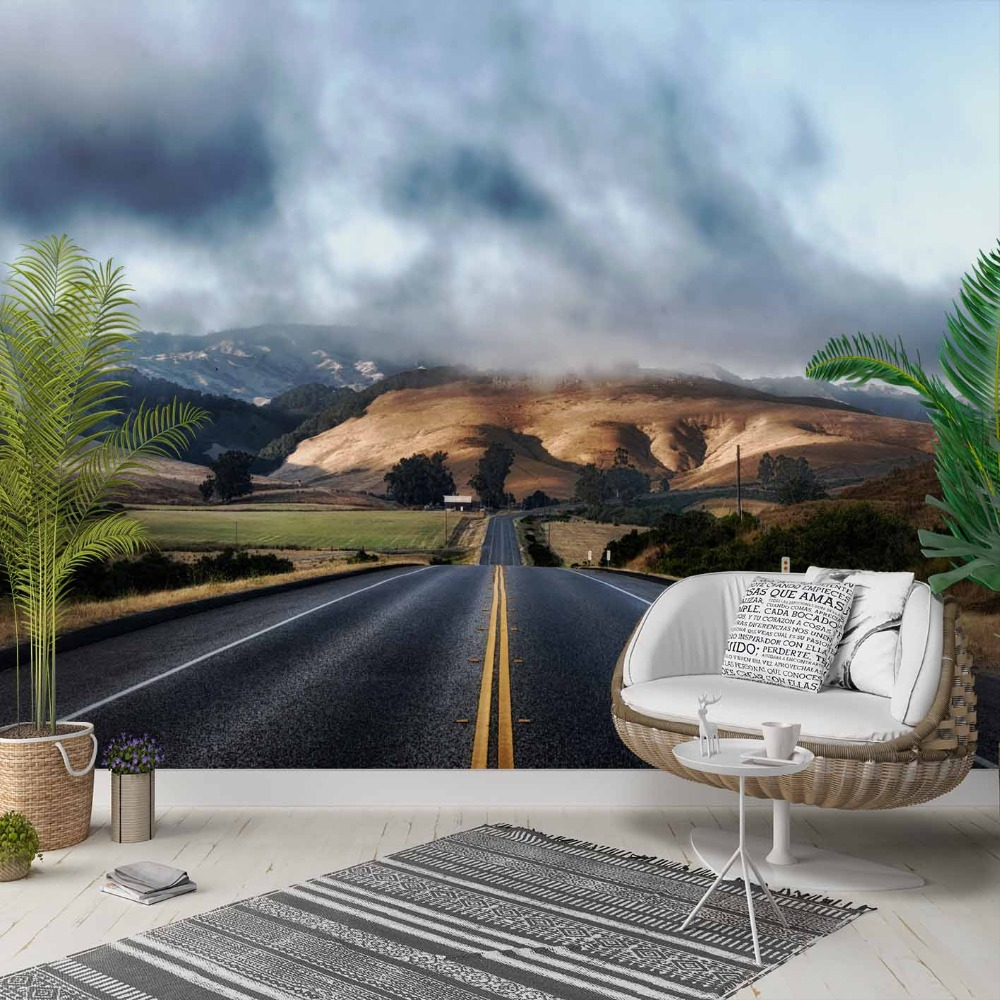 Else Mountain Highway Road Way Nature Floral 3d Photo Cleanable Fabric Mural Home Decor Living Room Bedroom Background Wallpaper