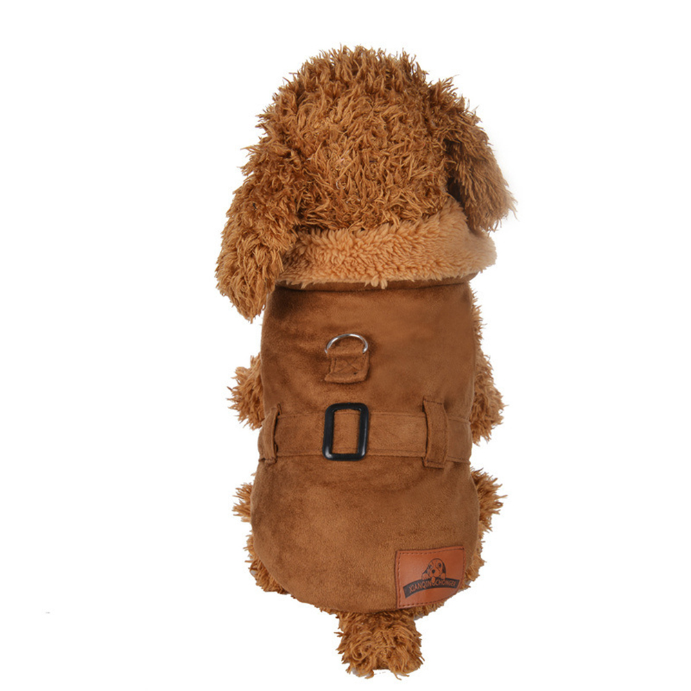 Winter Suede Dog Jacket Warm Coat Puppy Solid Color Fashion Outwear Pet Clothes