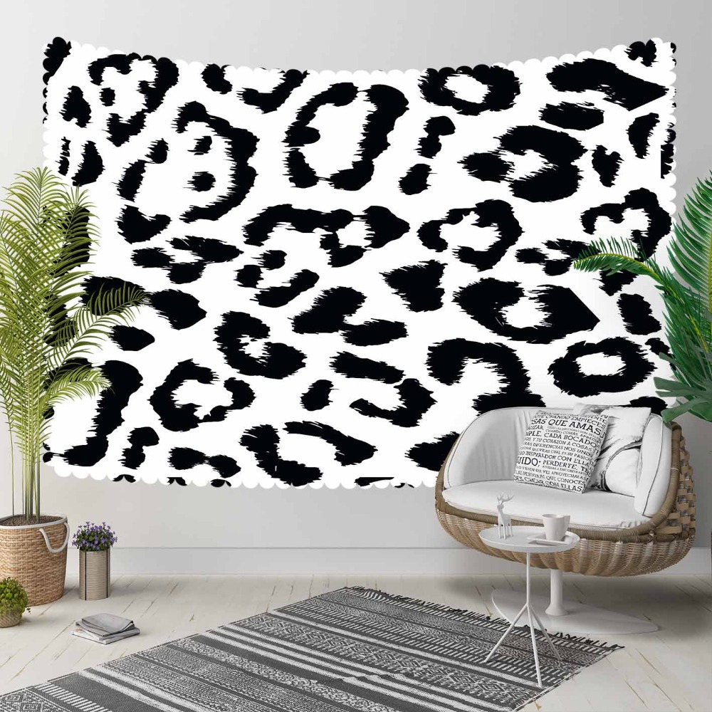 Autre noir blanc léopard fourrure Design moderne Nordec 3D imprimer décoratif Hippi bohème tenture murale paysage tapisserie mur Art