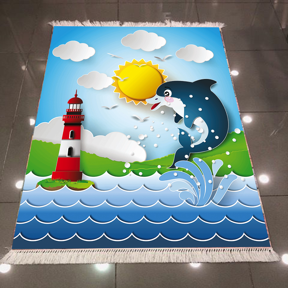 Else Blue Sea Dolphins Red White Lighthouse Sun 3d Print Anti Slip Back Washable Decorative Kilim Kids Room Area Rug Carpet