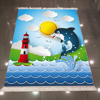 Else Blue Sea Dolphins Red White Lighthouse Sun 3d Print Anti Slip Back Washable Decorative Kilim Kids Room Area Rug Carpet