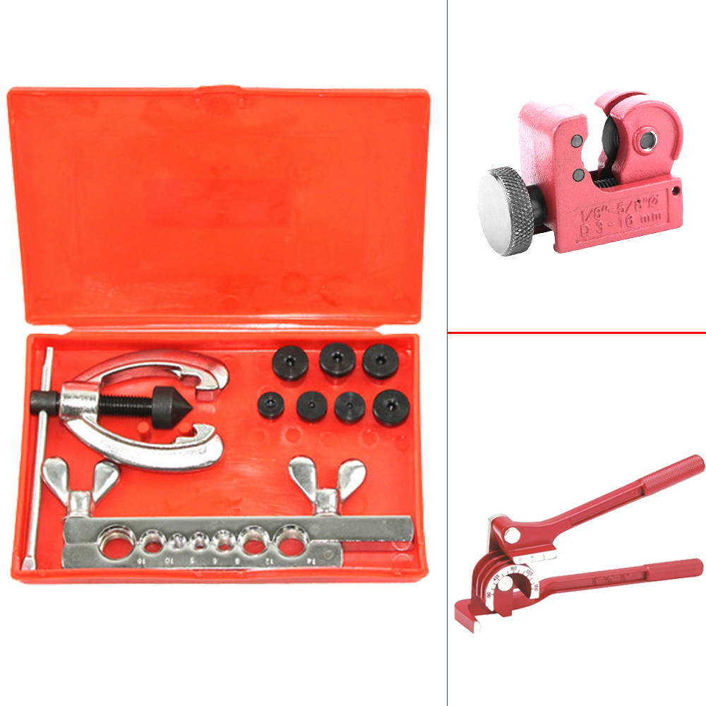 Tubing Bender Cutter Double Flaring Tool Kit 3 Way Brake Water Gas Line Plumbing 80x2mm copper end feed euqal tee 3 way pipe fitting plumbing for gas water oil