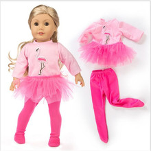 Doll Clothes Born New Baby Fit 18 inch 40-43cm 2 pieces Red, yellow, blue Flamingo yarn suit accessories For Gift