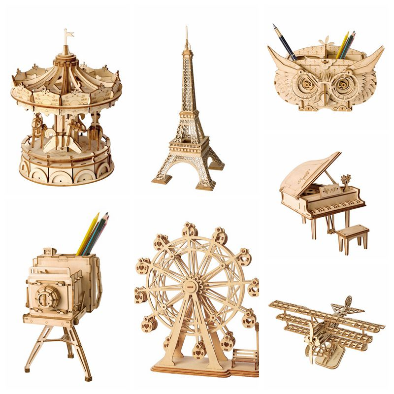 Robotime DIY 3D Wooden Puzzle Toys Assembly Model Toys Plane Merry Go Round Ferris Wheel Toys For Children