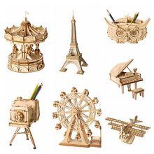 Robotime Home Decoration Figurine DIY Wooden Miniature European Vintage Model Table Desk Living Room Accessories for Kids TG401