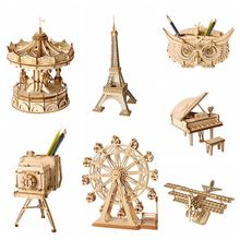 Robotime Home Decoration Figurine DIY Wooden Miniature European Vintage Model Table Desk Living Room Accessories for Kids TG401