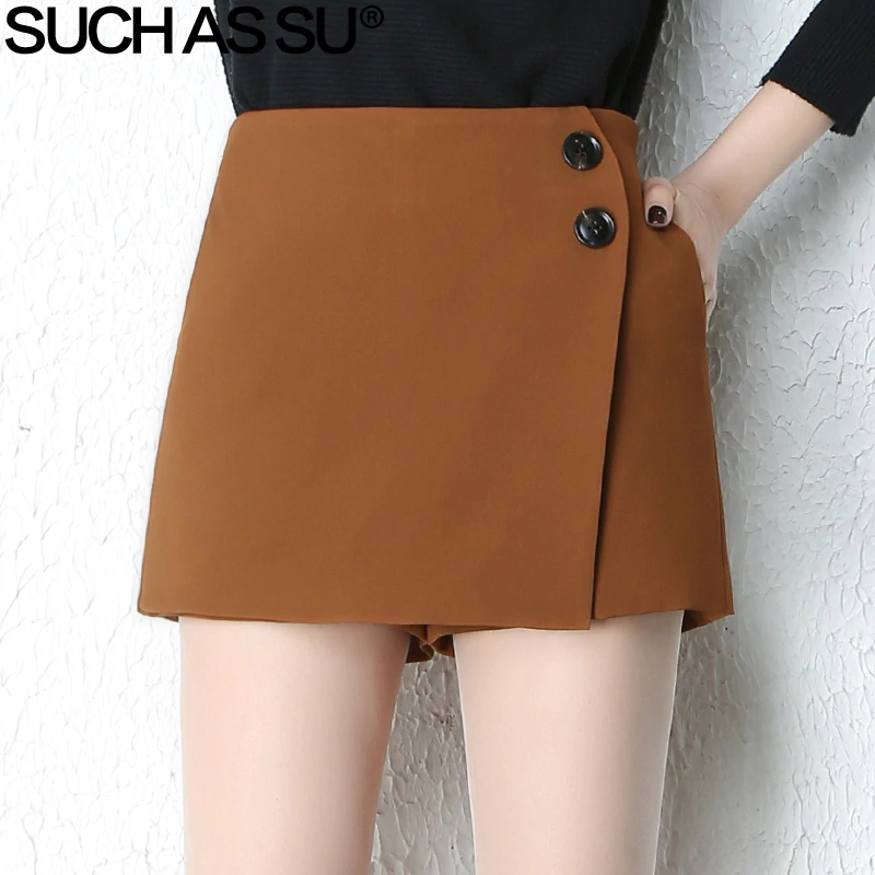 New Knit Shorts Womens 2018 Autumn Winter Black Brown Button Patchwork High Waist Shorts Skirts S 3XL Casual Female Sexy Shorts