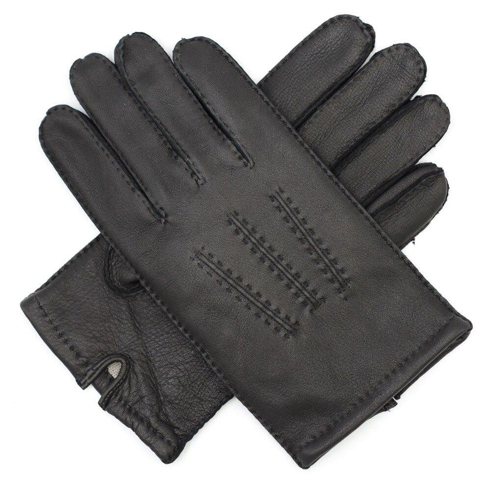 Harssidanzar Mens Deerskin Leather Gloves Cashmere Lined Vintage Finished Black
