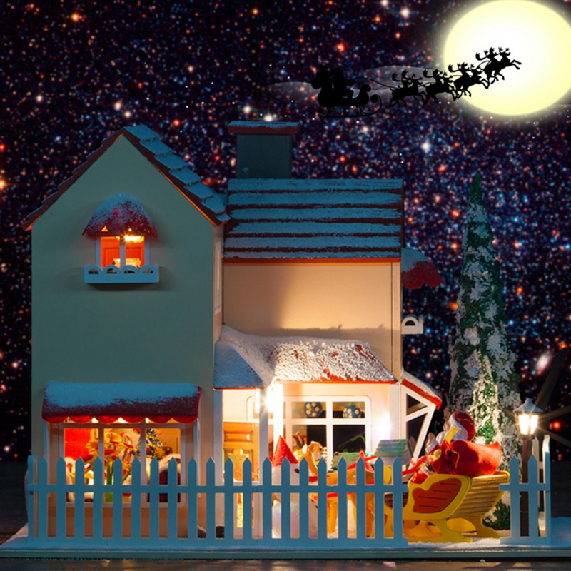 Hoomeda Handmake DIY Wood Dollhouse Miniature With LED Furniture Cover Christmas Eve Best Gift kits diy wood dollhouse bed miniature with led furniture cover furniture gift