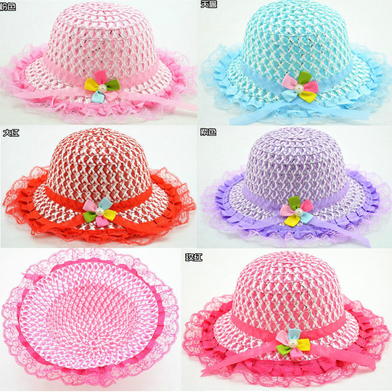 Fashion Leis Straw baby care Hat Baby Hats For Girls Lace Bucket Hat And Cap Children Sun Summer Kids Solid Beach Panama Caps