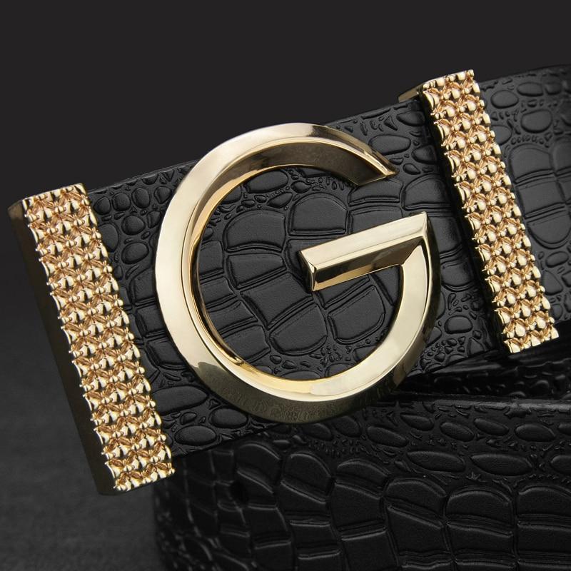 G letter belt men High Quality fashion luxury Waist strap Cowskin genuine leather designer ceinture homme Casual Waistband