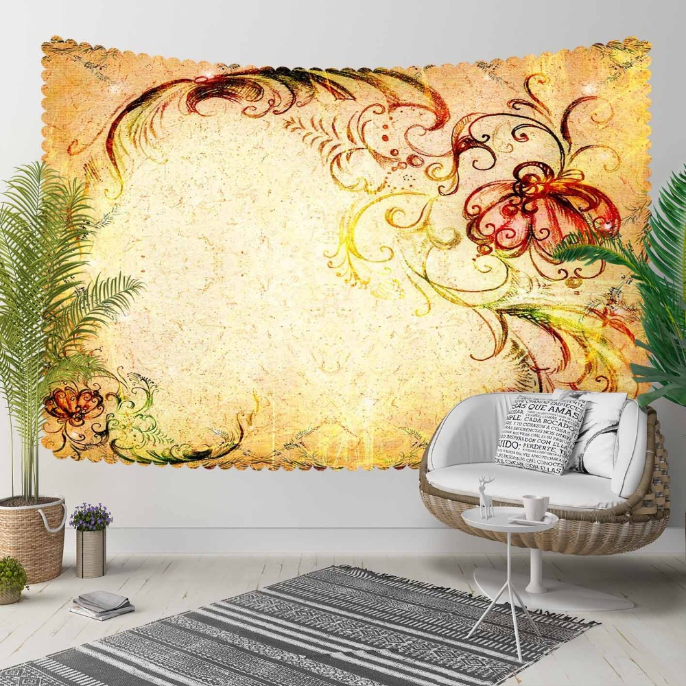 Else Brown Yellow Floral Red Flowers Turkish Ethnic 3D Print Decorative Hippi Bohemian Wall Hanging Landscape Tapestry Wall Art