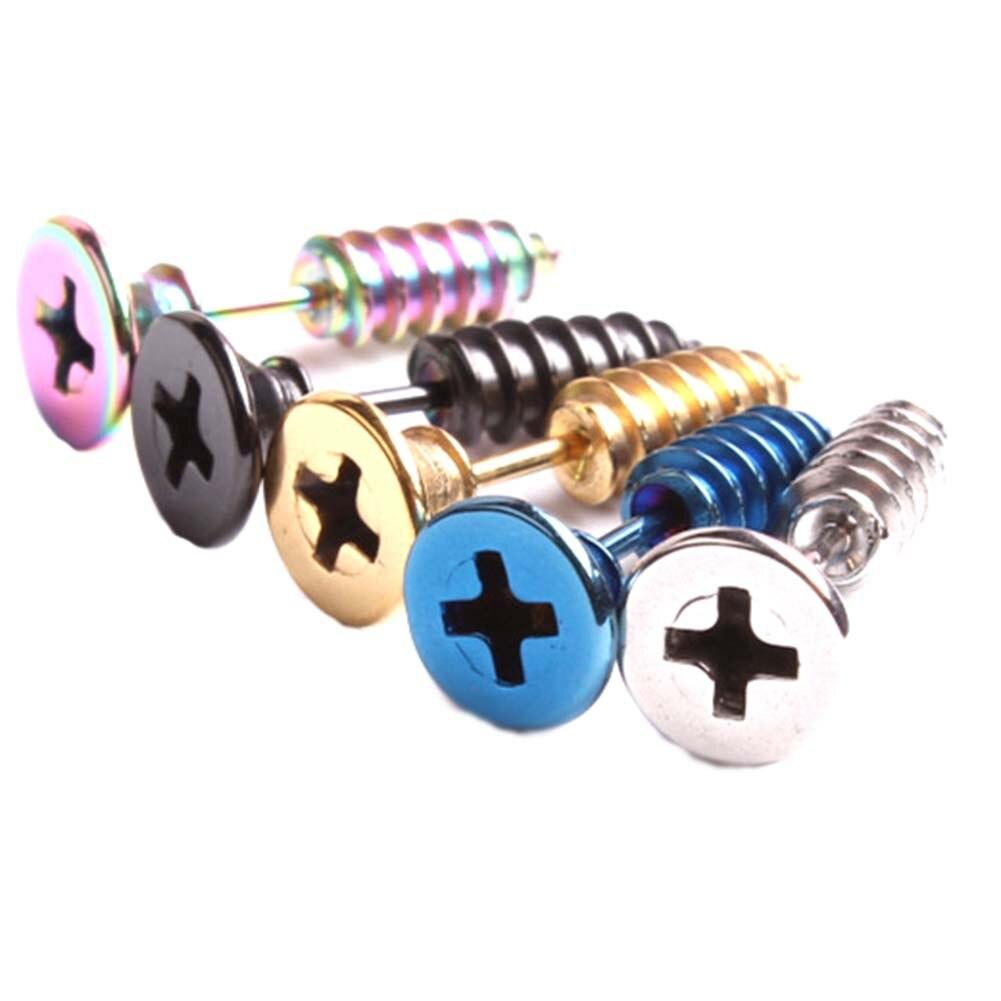 1piece Steampunk Screw Stud Earrings Fashion Design Stainless Steel Body Piercing Ear Stud for Men Women Anti Allergic Earring ...