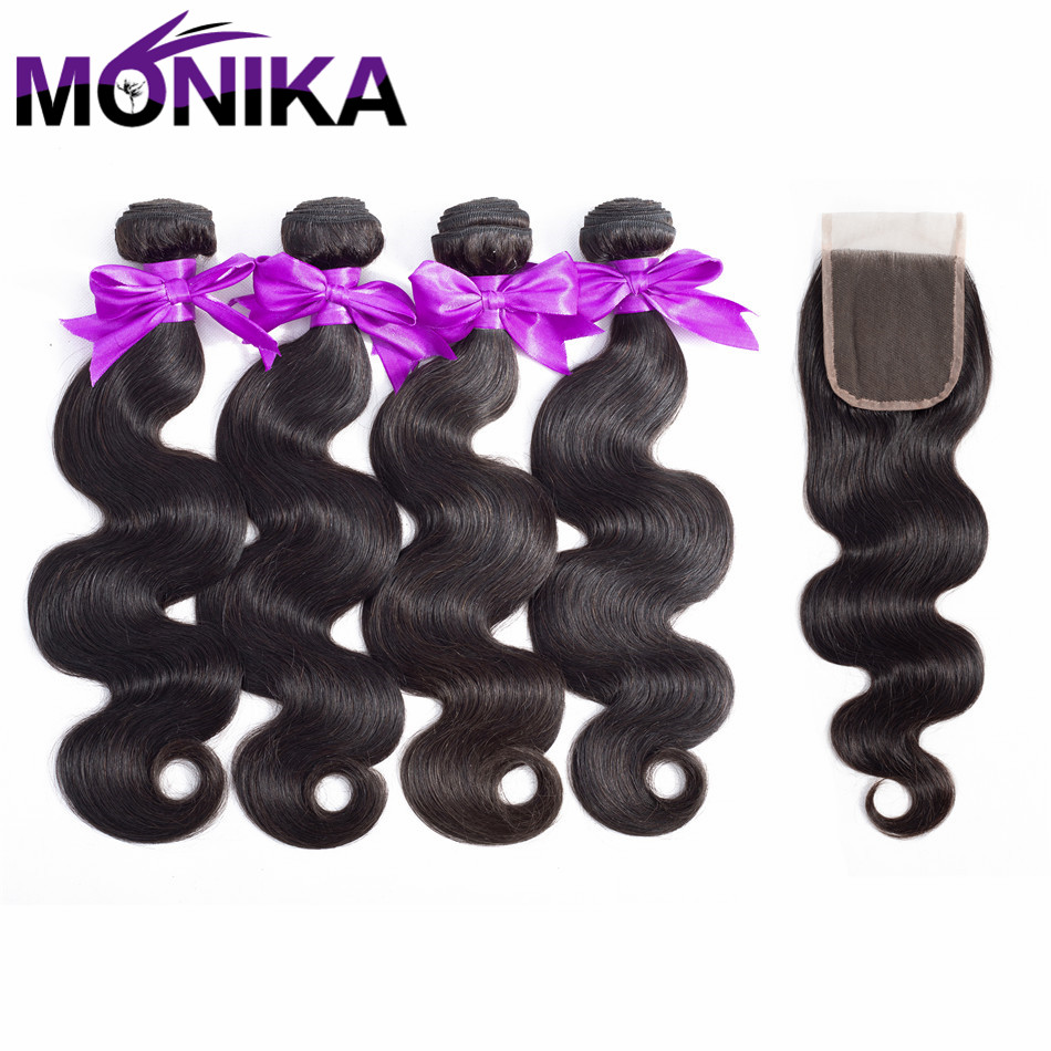 Monika Hair Brazilian Body Wave Bundles With Closure Human Hair 4*4 Free Part Lace Closure 4 Bundles Non Remy Hair Free Shipping