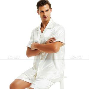 Image 5 - Pijama de satén de seda para hombre, Conjunto de pijama corto, ropa de dormir, ropa de descanso S,M,L,XL,2XL,3XL,4XL