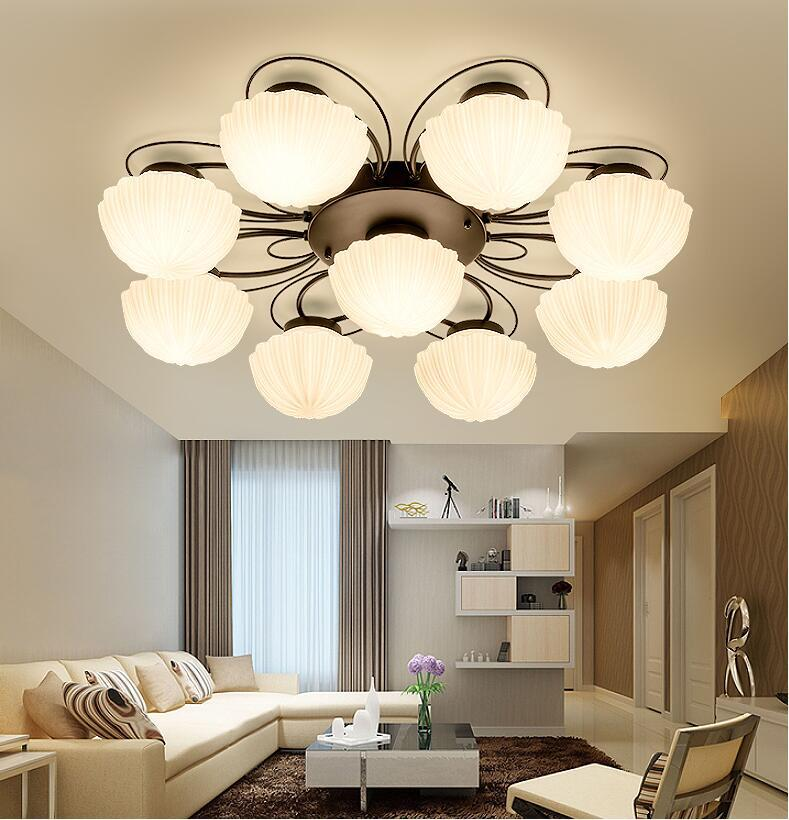 LED ceiling Chandelier Lights Fixture E27 Glass Nordic For Study Hotel Room Chandeliers Black iron Indoor Lighting 110v-22V
