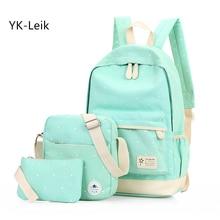 YK-Leik Fashion dots women backpack High quality canvas backpacks for teenage girls school backpack school bags mochila
