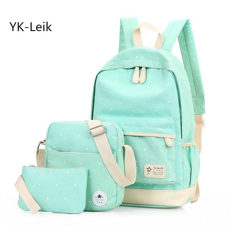 Yk-ليك الأزياء النقاط النساء الظهر عالية الجودة قماش مدرسة حقيبة الظهر للمراهقات حقائب مدرسية mochila