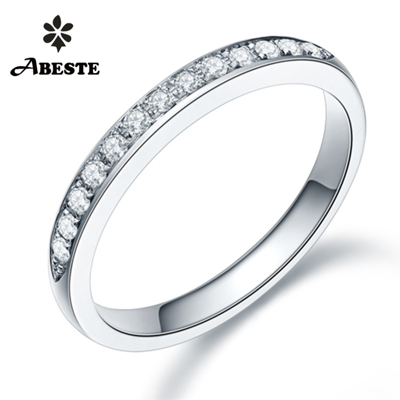 ANI 18K White/Yellow/Rose Gold (AU750) Women Wedding Band 0.195CT Certified I-J/SI Bijoux Real Natural Diamond Ring bague fine new pure au750 rose gold love ring lucky cute letter ring 1 13 1 23g hot sale