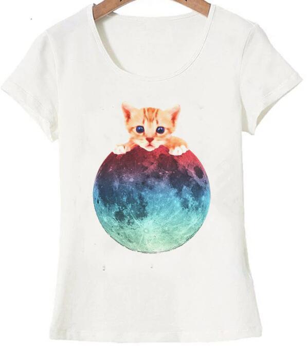 Nouveaut T shirt femmes chat dr le la lune est la mienne T Shirt mignon chaton