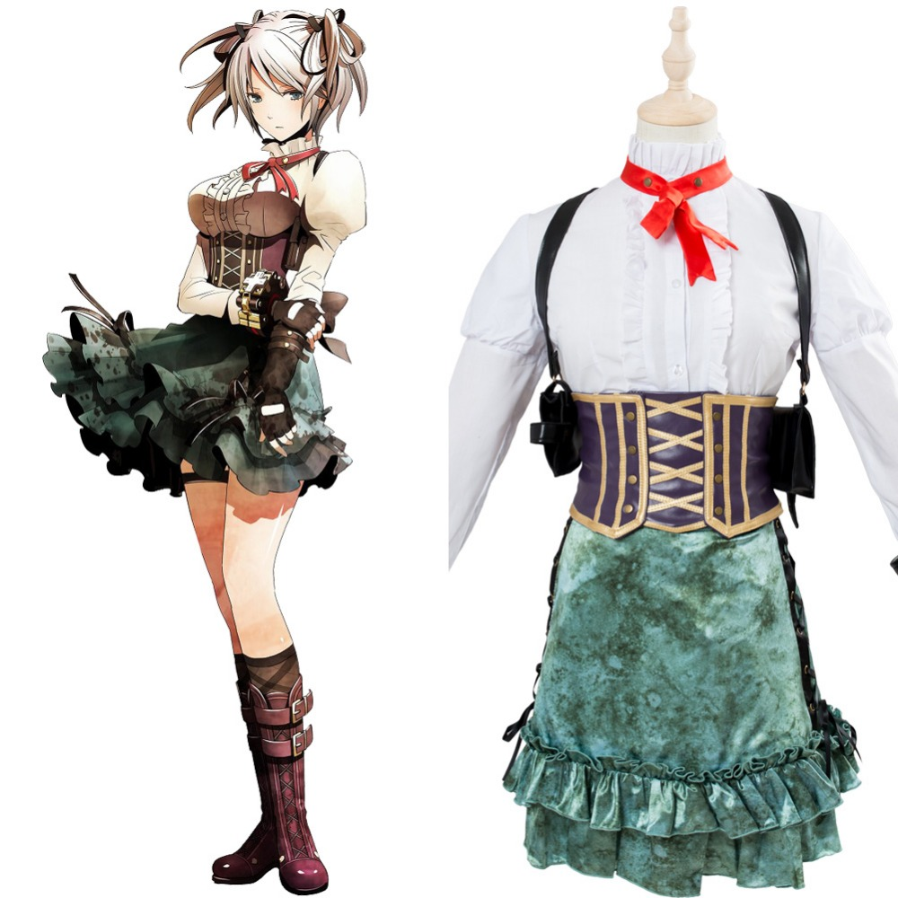 God Eater 2 Ciel Alencon Cosplay Costume Girls Dress Uniform Outfit Halloween Carnival Cosplay Costumes