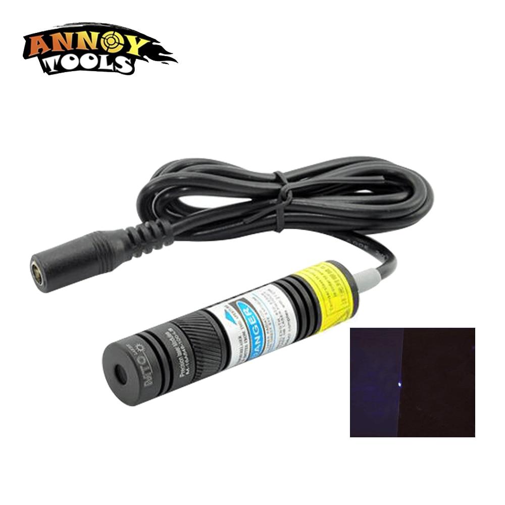 1Pcs Hot Sale 405nm 20 -300mW Blueviolet Point Laser Module Head Glass Lens Focusable Industrial Class