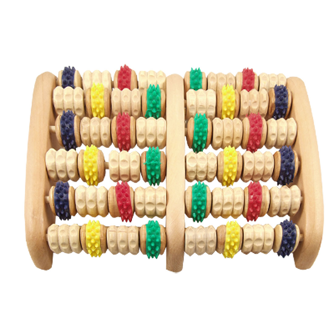 UXCELL Foot Colorful Wheels Wooden Roller Relax Stress Relief Massager Board