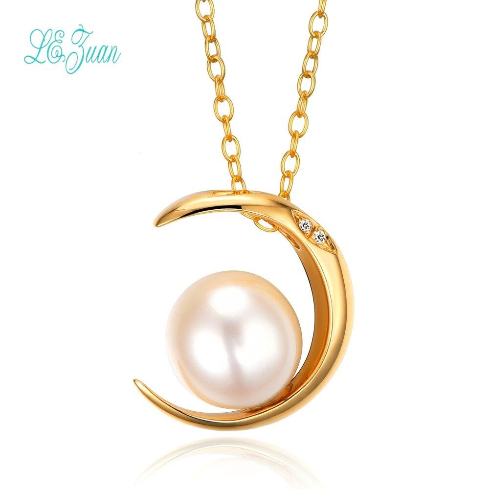 L & Цзуань 18 К желтого золота 0.001ct алмаз естественный пресноводный жемчуг Цепочки и ожерелья подвеска для Для женщин свадебные Ювелирные укр