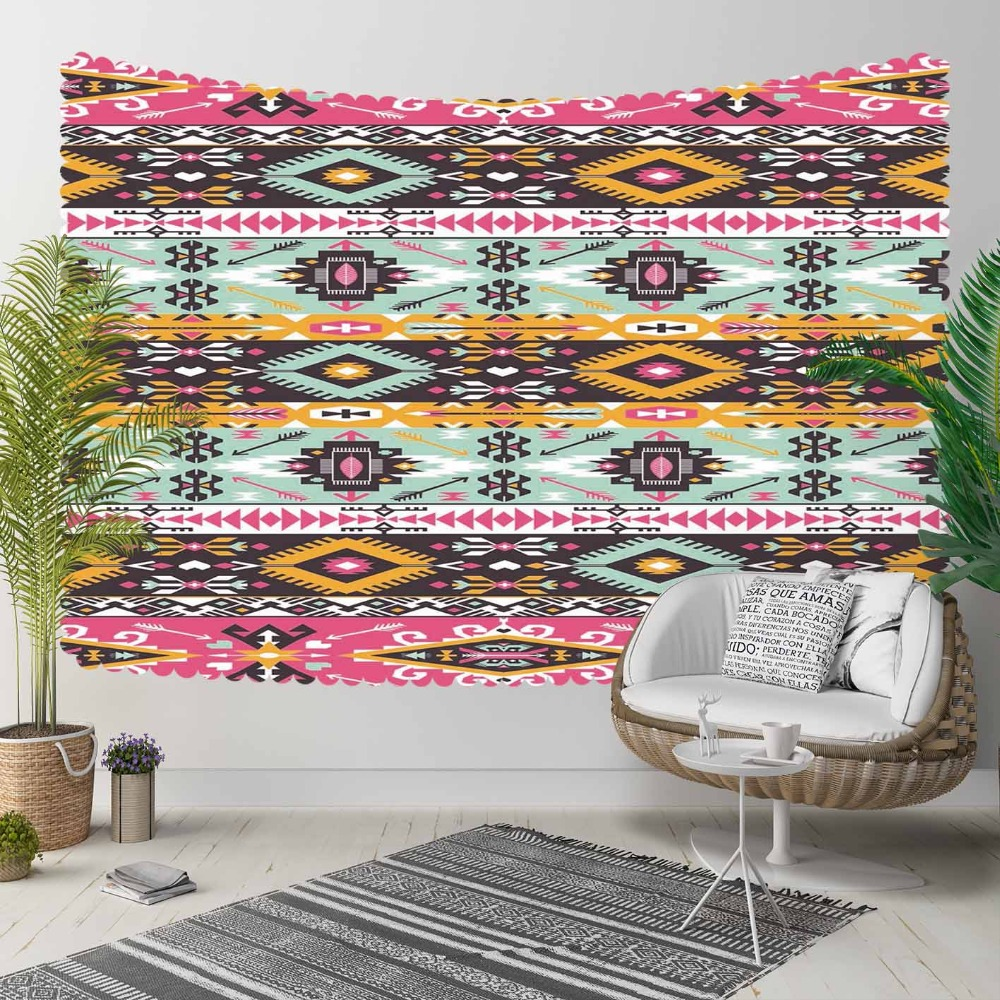 Else Pink Yellow Blue Aztec Ethnic Kilim 3D Pattern Print Decorative Hippi Bohemian Wall Hanging Landscape Tapestry Wall Art