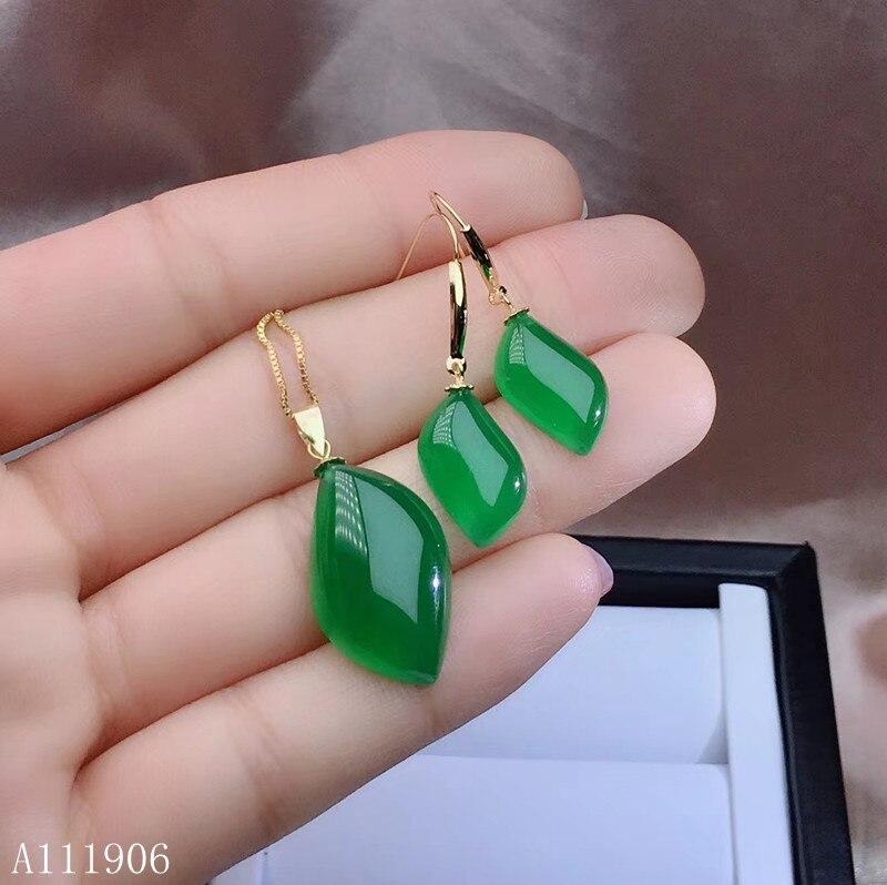 KJJEAXCMY boutique bijoux or 18 K incrusté naturel vert calcédoine pierre gemme femelle bague boucles d'oreilles set support détection