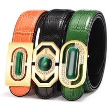 купить designer belt men high quality luxury Cat's eye buckle Brand Belt Men Genuine Leather Belts for Men Strap Male Cinturones Hombre по цене 787.85 рублей
