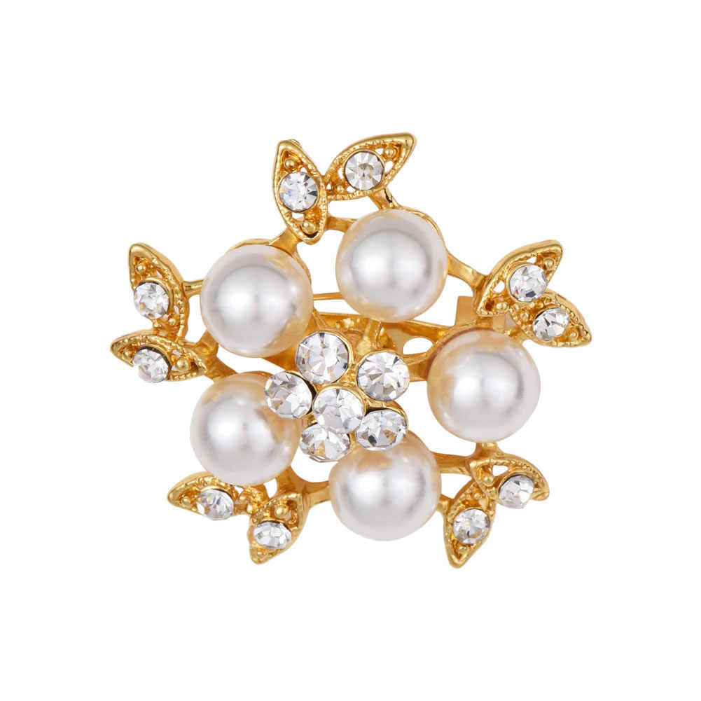 Gold-Color Simulated Pearl Flower Brooches Rhinestone Scarf Buckles Corsage Small Shawl Pins