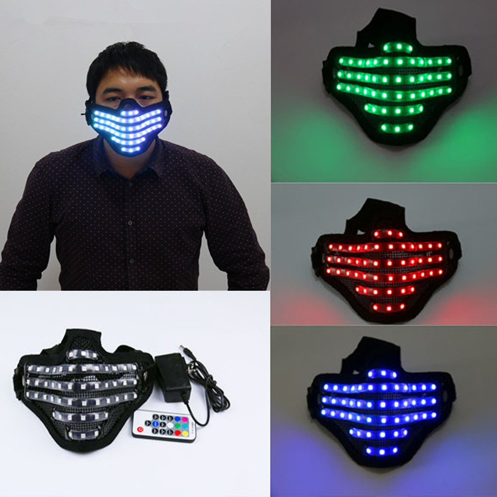 LED RGB Mutilcolor Light Mask Hero Face Guard DJ Mask Party Halloween Birthday LED Colorful Masks for show