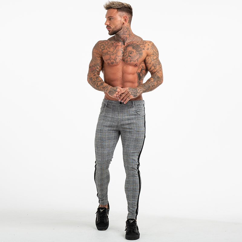 Gingtto Mens Chinos Slim Fit Skinny Pants For Men Chino Trousers Plaid Design Fashion Grey With Stripe at Side zm353