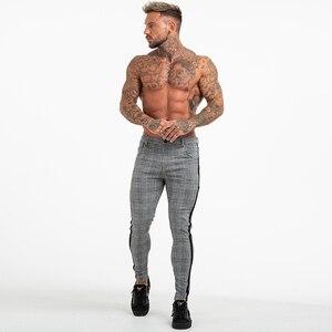 Image 2 - Gingtto Mens Pantaloni di cotone Slim Fit Pantaloni Scarni Per Gli Uomini Chino Pantaloni di Plaid di Modo di Disegno Grigio Con La Banda a Lato zm353