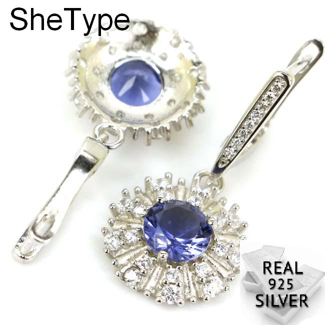 Earrings Topaz London 925 White Solid-Sterling-Silver Smokey Woman's Round CZ Spinel