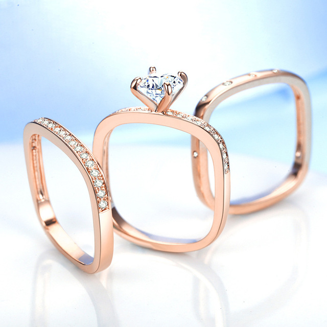 Sterling silver 3 Piece fashion ring Set
